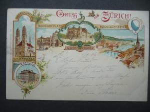Ansichtskarte Zürich Großmünster Stadttheater ua. Farblitho 1897