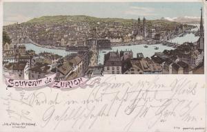 Ansichtskarte Zürich / Souvenir de Zurich Gesamtansicht Farblitho 1896