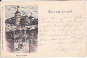 Ansichtskarte Stuttgart Altes Schloss Farblitho Künstlerpostkarte 1897