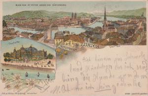 Ansichtskarte Zürich Gesamtansicht Tonhalle Farblitho 1896