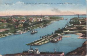 Ansichtskarte Kiel-Holtenau Blick von Prinz-Heinrich-Brücke Kaiser-Wilhelm-Kanal 1915