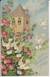 Ansichtskarte Prägekarte Glückwunschkarte Geburtstag Taubenhaus Brieftauben Rosen 1909
