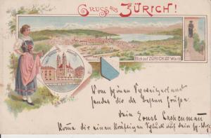 Ansichtskarte Zürich / Gesamtansicht Großmünster Tracht Farblitho 1896