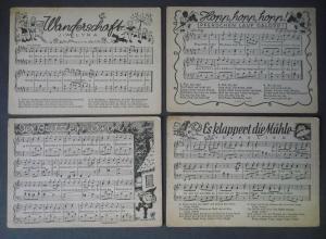 4 Ansichtskarte Kinderlieder Volkslieder mit Noten Butzemann ca. 1940