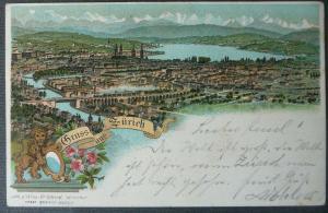Ansichtskarte Zürich Gesamtansicht Farblitho 1896