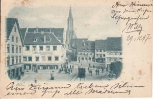Ansichtskarte Ulm Hirschgasse Hotel z. Goldenen Löwen Münster 1897