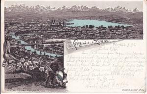 Ansichtskarte Zürich Gesamtansicht Alpen / Farblitho 1896