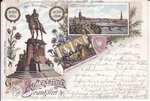 Ansichtskarte Frankfurt am Main Friedensfeier Jubiläum Friedenskonferenz Ks. Wilhelm 1896
