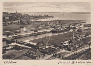 Ansichtskarte Kiel Holtenau Schleusenanlage Hafen Foto ca. 1930