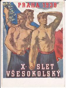 Ansichtskarte Kunstpostkarte X. Slet Vsesokolský Prag / Sokol Turnerbund 1938