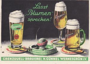 Ansichtskarte Postkarte Reklame Grenzquell Brauerei Wernesgrün Vogtland ca. 1950
