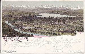 Ansichtskarte Zürich Gesamtansicht Alpen Zürichsee / Farblitho 1896