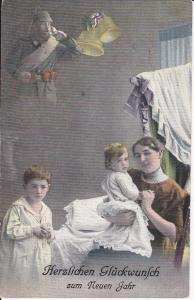 Ansichtskarte Glückwunschkarte Neujahr Familie Soldat Vater im Krieg Erster Weltkrieg