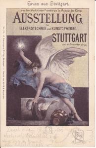 Ansichtskarte Stuttgart Ausstellung Elektrotechnik Kunstgewerbe 1896