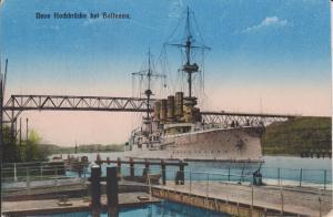 Ansichtskarte Holtenau Kiel Hochbrücke mit Schlachtschiff ca. 1920
