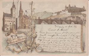 Ansichtskarte Würzburg Rathaus Mainbrücke 1897