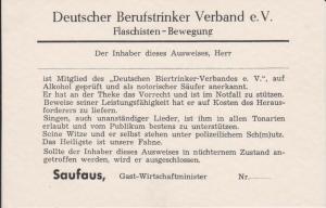 Ansichtskarte Scherzkarte Berufstrinker-Ausweis Flaschisten-Bewegung