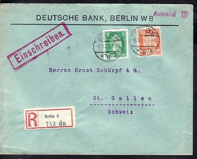 R Brief Von Berlin 8 In Die Schweiz Bedarf Firmenpost Zz3939