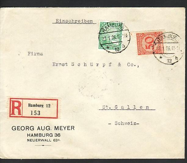R Brief Von Hamburg In Die Schweiz Bedarf Firmenpost Zz3913