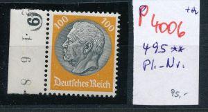 D.-Reich Nr.  495 Platten Nr.   ** (p4006 ) siehe scan
