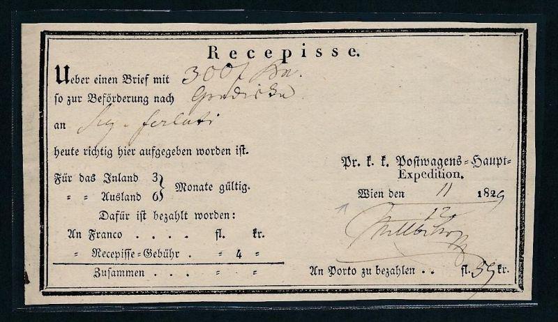 Österreich -uralter Postschein    (g8289  ) siehe Bild !