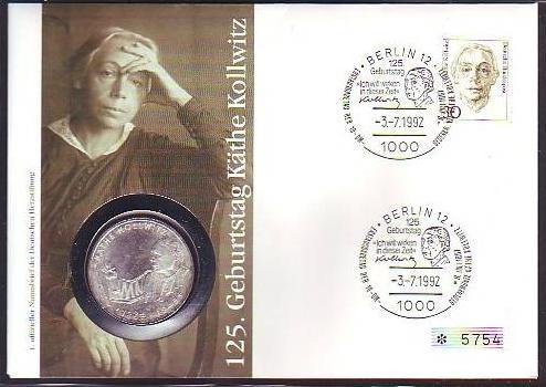 BRD  Numisbrief  K.Kollwitz mit 10 Mark Silber   (dc8881 ) siehe scan