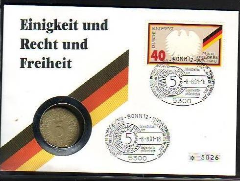 BRD  Numisbrief  Einigkeit..... mit  5  Mark Silber   (dc8889 ) siehe scan