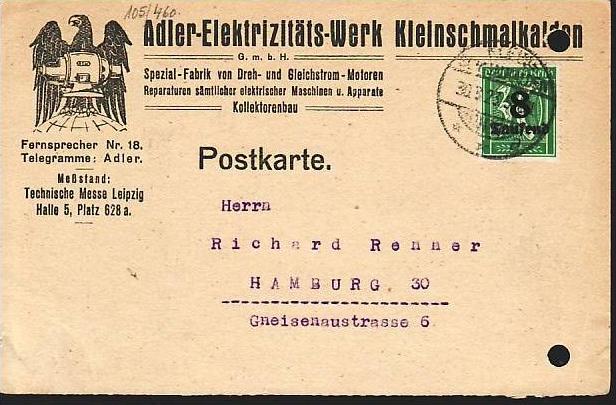 D.-Reich   Infla Karte  (dc 7161 )siehe scan