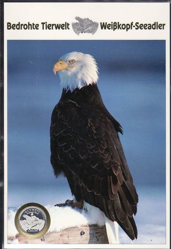 Souvenierblatt  Bedrohte Tiere Weiskopfadler 2$ Münze Cook Insel-Silber (dc 7074 )siehe scan
