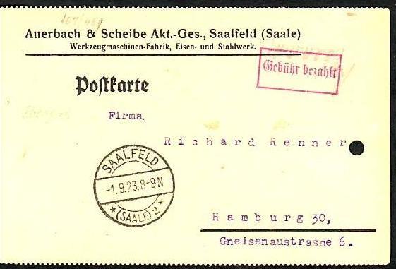 D.-Reich Karte  Gebühr bezahlt  Infla   (dc 7160 )siehe scan