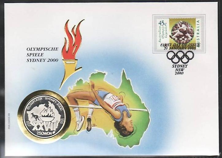 Numusbrief Olympiade SYDNEY mit 250 WON Silber Münze 15 Gramm fein(dc6586 )