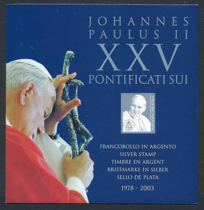 Vatican Souvenier Mappe mit Silber Marke Papst Paulus II  **  (ze7332 ) siehe Bild