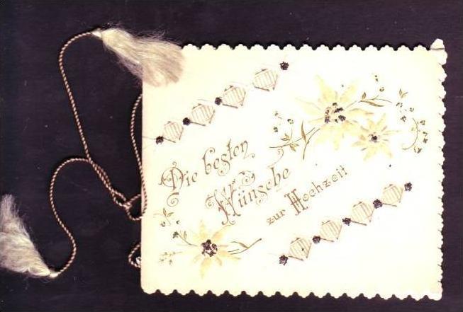 Alte Klappkarte (da150)kleines Kunstwerk aus Papier