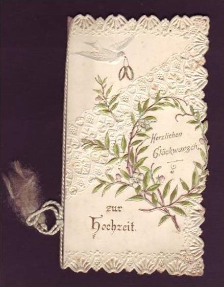 Alte Klappkarte (da151)kleines Kunstwerk aus Papier