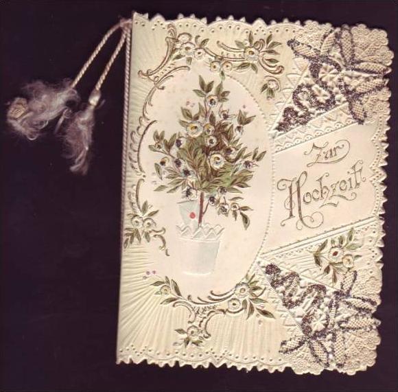 Alte Klappkarte (da148)kleines Kunstwerk aus Papier