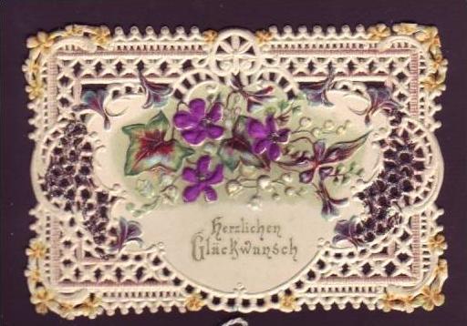 Alte Klappkarte (da143)kleines Kunstwerk aus Papier