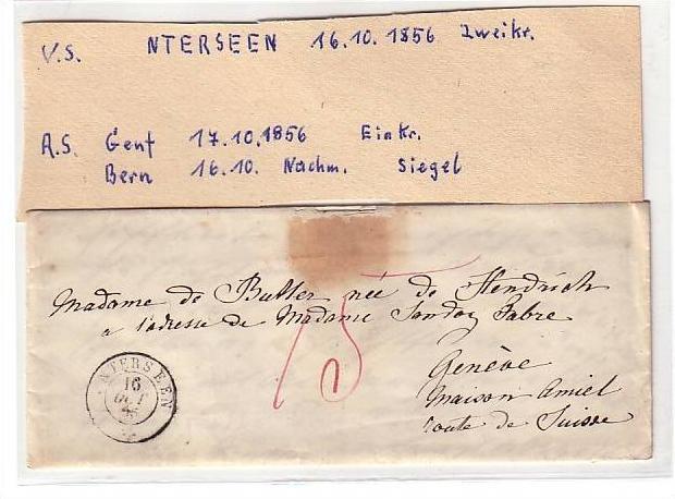 Schweiz Altbrief 1856 gesiegelt (3708)