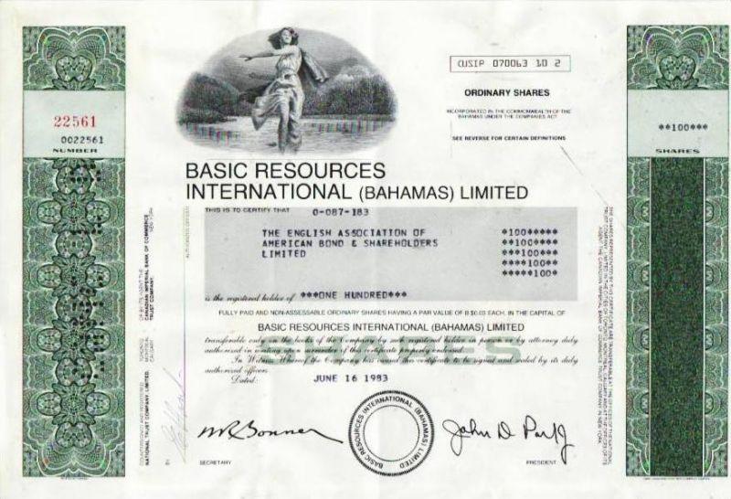 Aktie Basic Res. Intern. (Bahamas) ltd. (bg140) siehe Bild