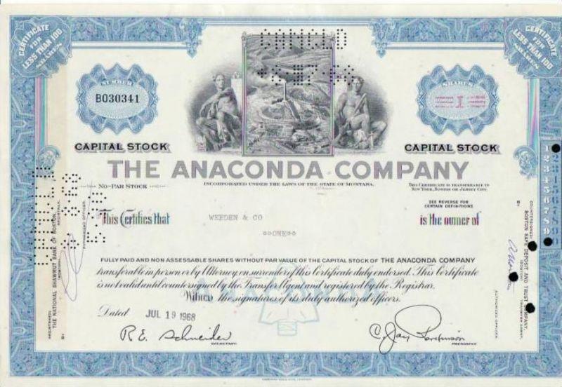 Aktie Anaconda Company (bg141) siehe Bild
