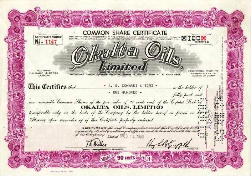 Aktie Okalta Oils (bg143) siehe Bild