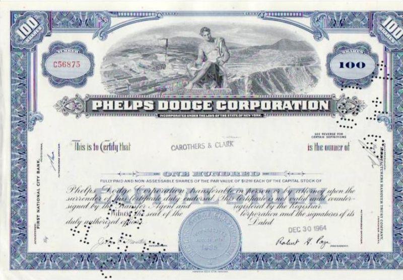 Aktie Phelps Dodge Corporation (bg144) siehe Bild