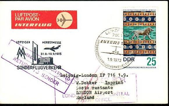DDR Messeflug Beleg  ( z6288 ) siehe scan