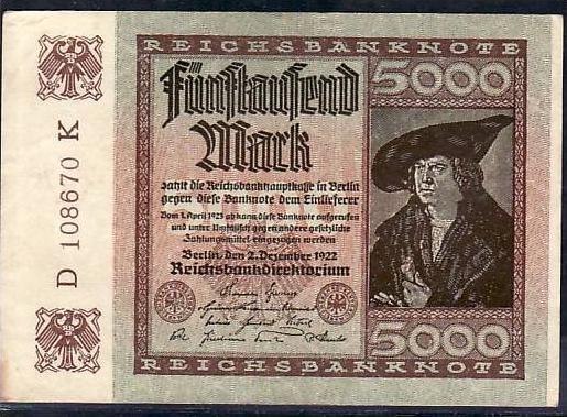 Geldschein D.-Reich  5000  Mark (m5120 ) siehe scan