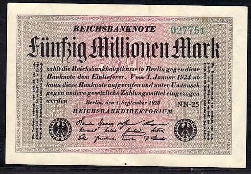 Geldschein D.-Reich   50 Mill. Mark (m5106 ) siehe scan