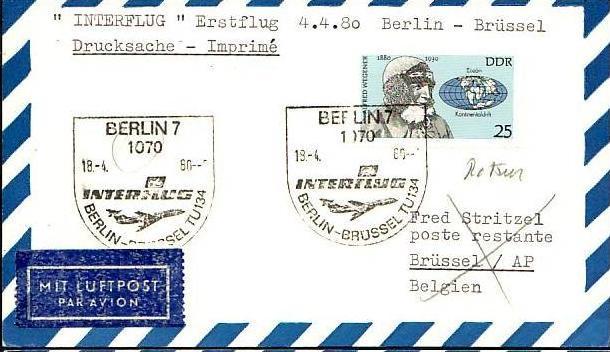 DDR  Sammler-Flug Beleg  ( m6022   ) siehe Bild