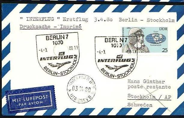 DDR  -Beleg - Flugpost   ( m 6035  ) siehe scan
