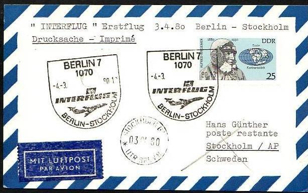 DDR  -Beleg - Flugpost   ( m 6034  ) siehe scan