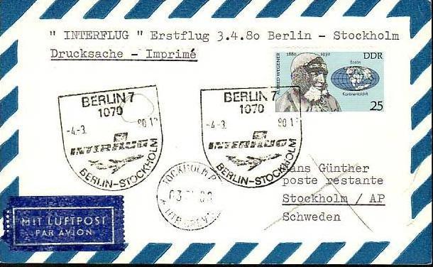 DDR  -Beleg - Flugpost   ( m 6036  ) siehe scan