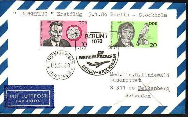 DDR  -Beleg - Flugpost   ( m 6037  ) siehe scan