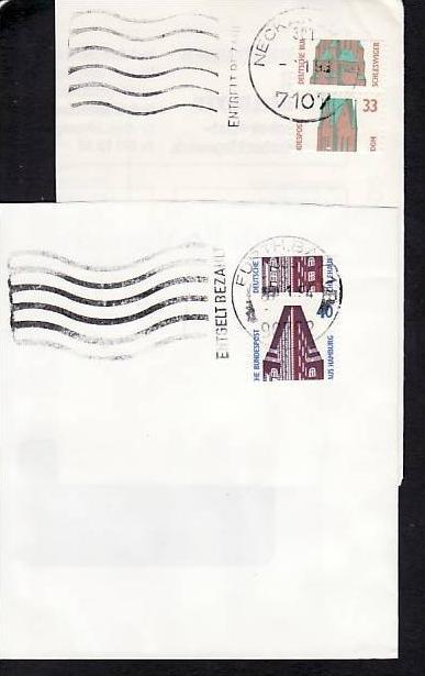BRD 2 total verzahnte Rollenmarken Briefstück (m7125 ) siehe scan